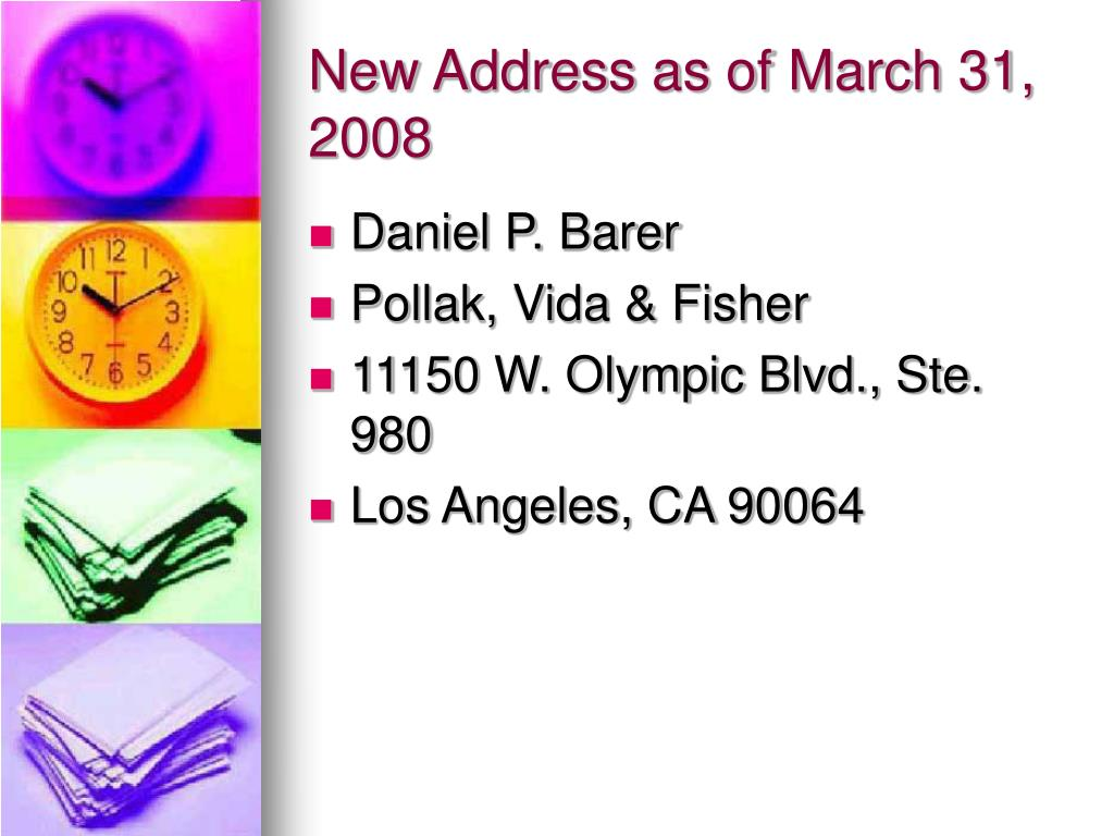 New Address as of March 31, 2008