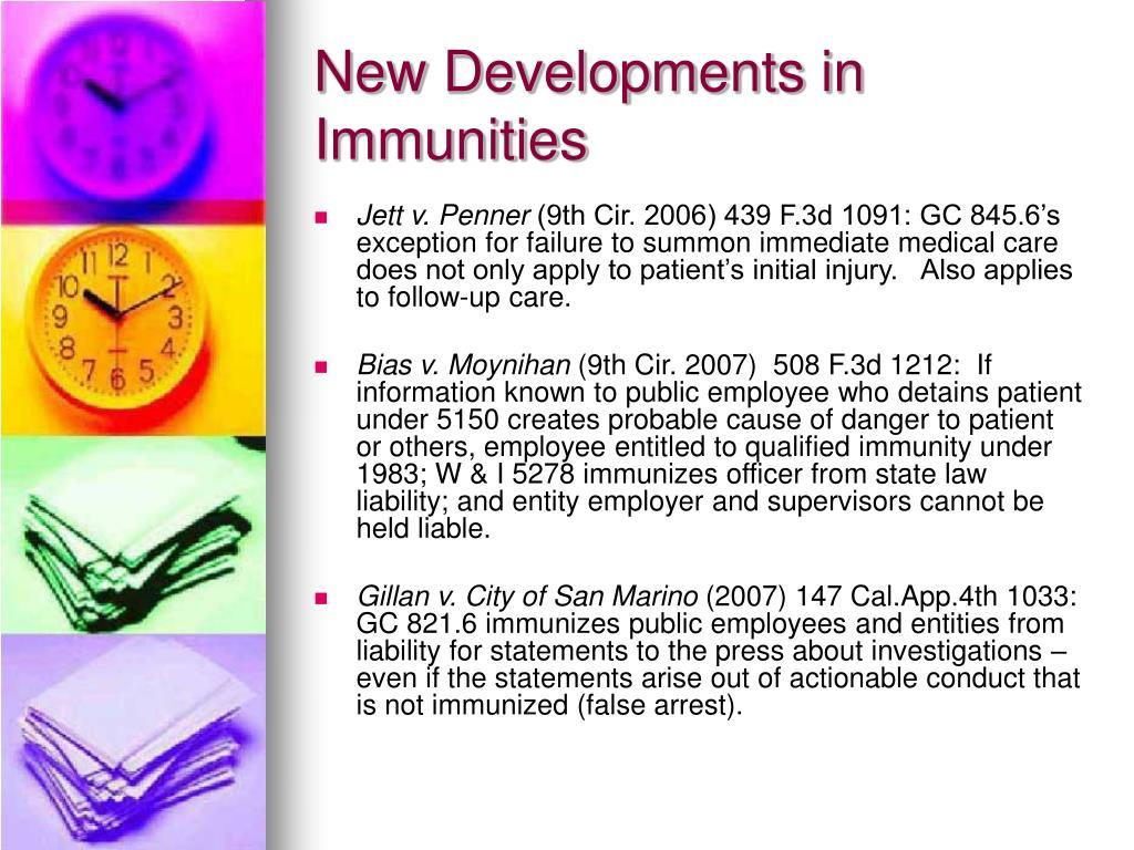 New Developments in Immunities