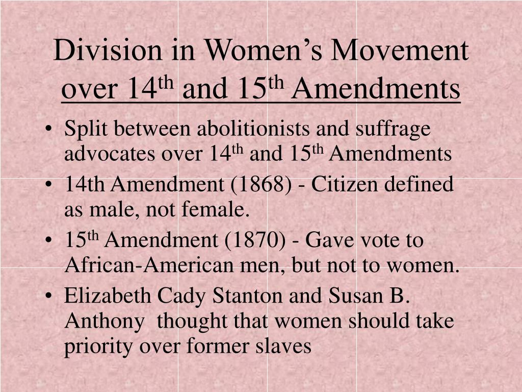 Division in Women's Movement