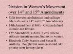 division in women s movement over 14 th and 15 th amendments