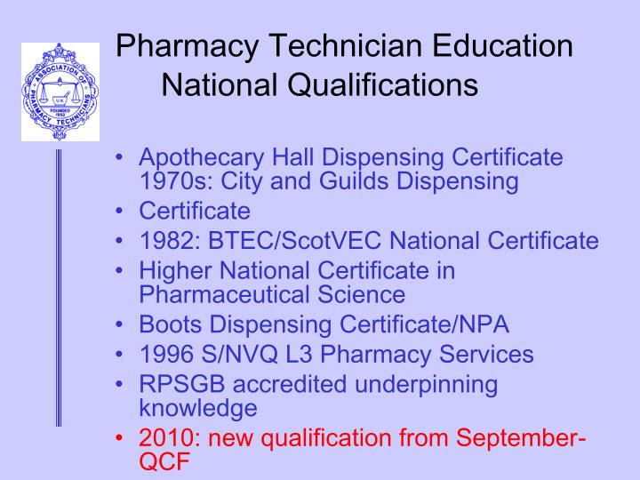 Pharmacy technician education national qualifications