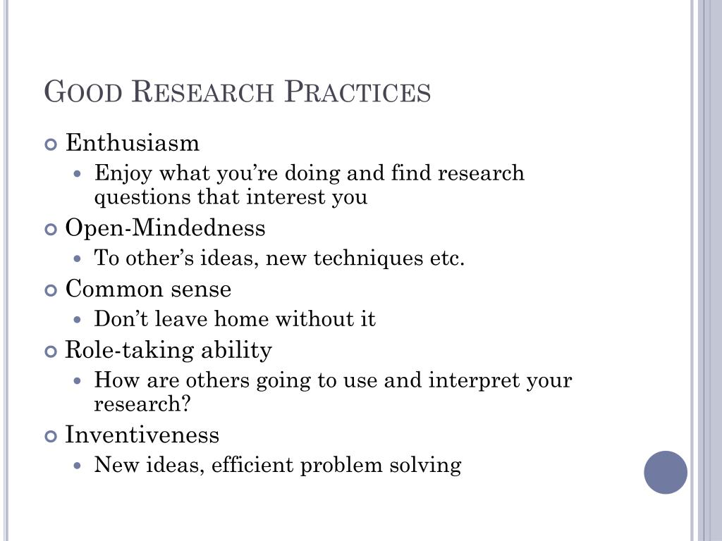 Good Research Practices