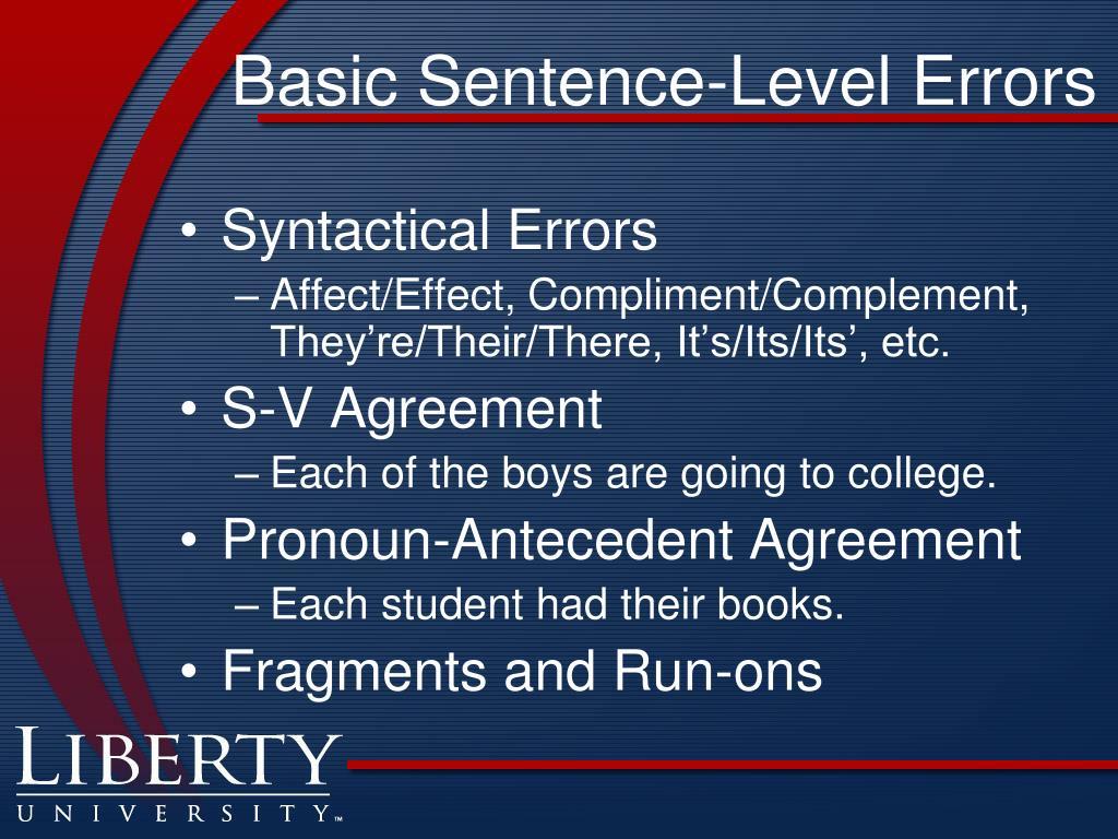 Basic Sentence-Level Errors