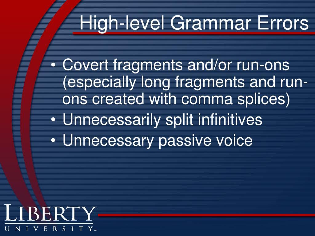 High-level Grammar Errors