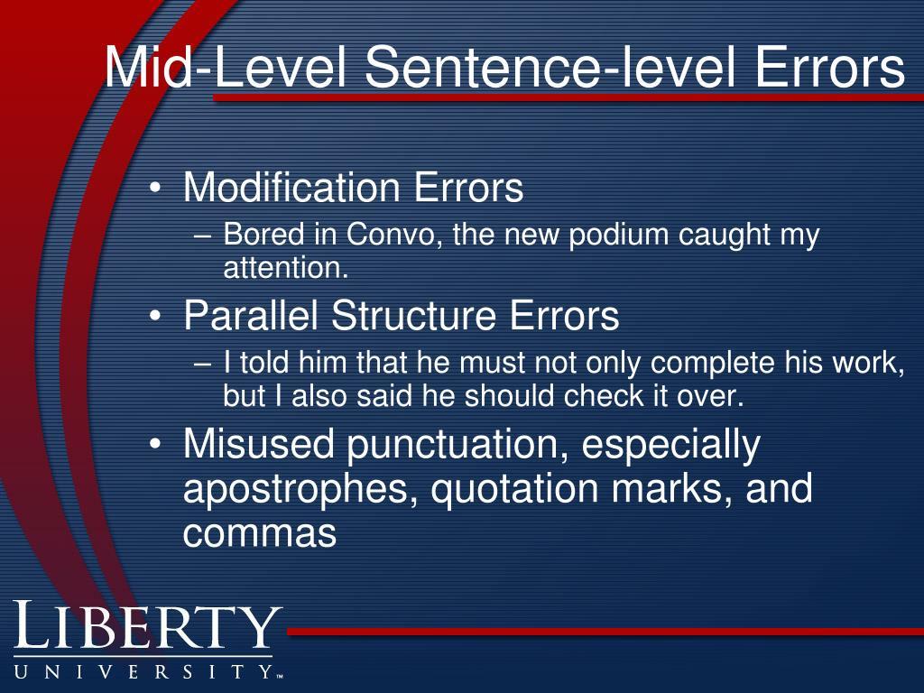 Mid-Level Sentence-level Errors