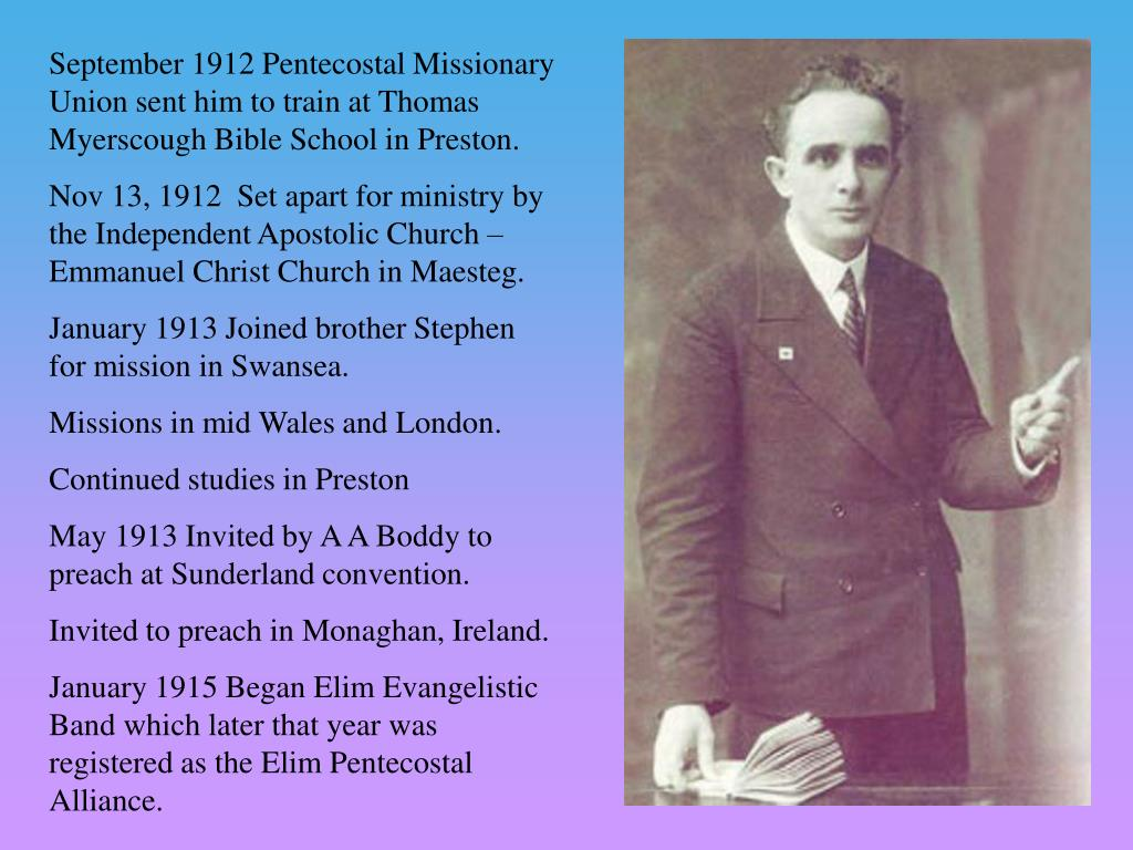 September 1912 Pentecostal Missionary Union sent him to train at Thomas Myerscough Bible School in Preston.