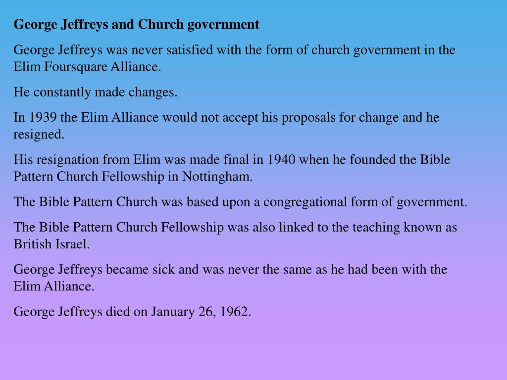 George Jeffreys and Church government