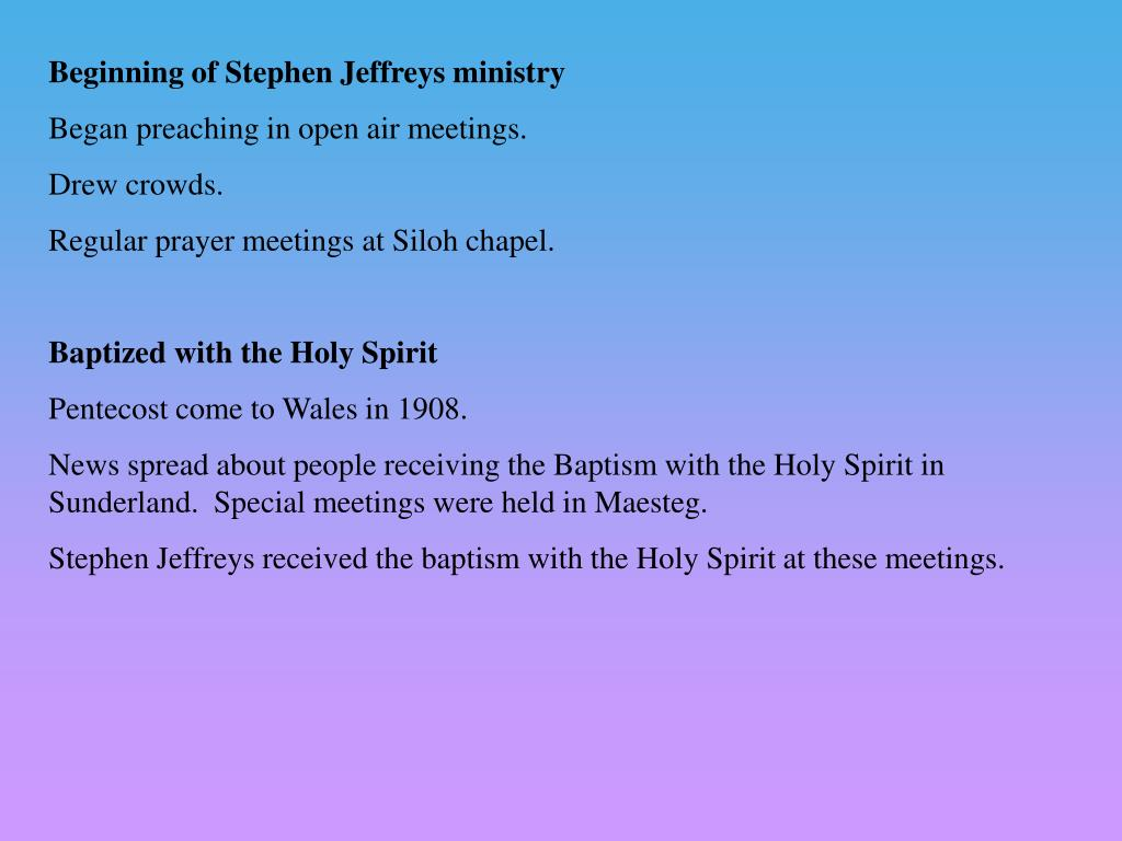 Beginning of Stephen Jeffreys ministry