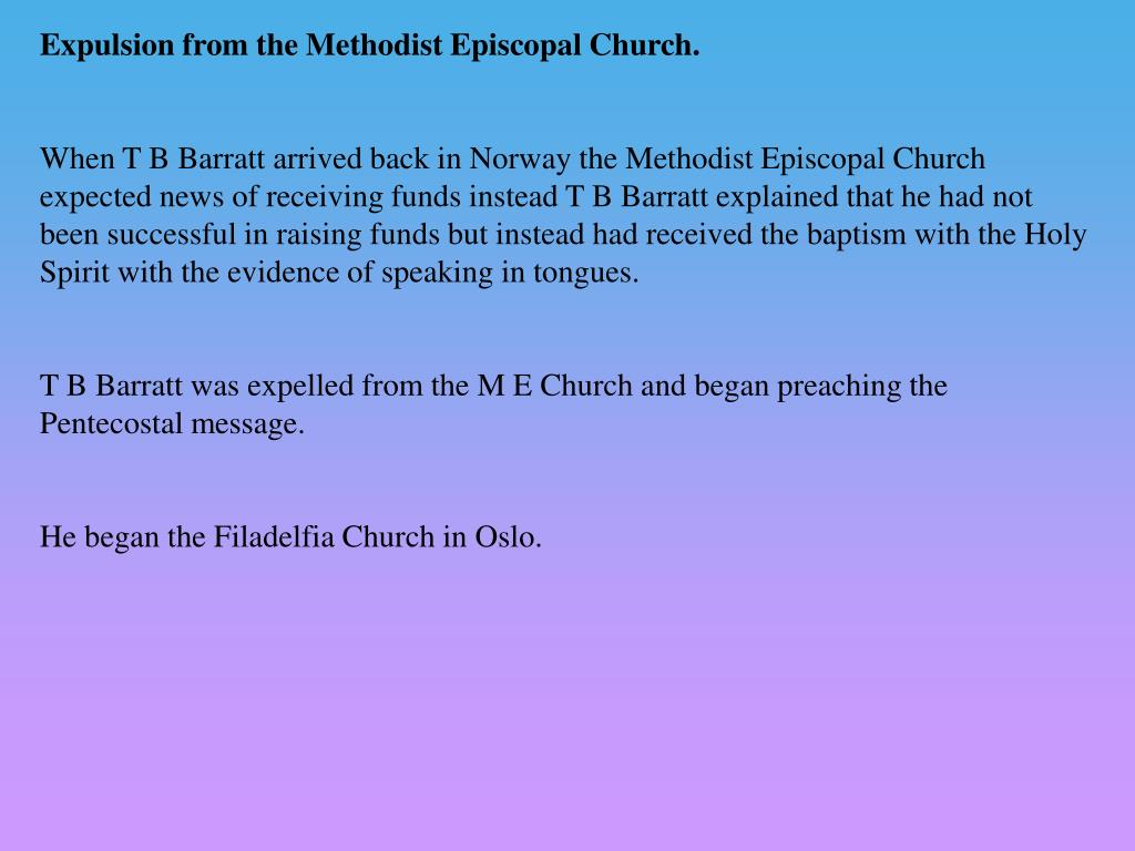 Expulsion from the Methodist Episcopal Church.