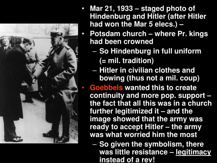 Mar 21, 1933 – staged photo of Hindenburg and Hitler (after Hitler had won the Mar 5 elecs.) –