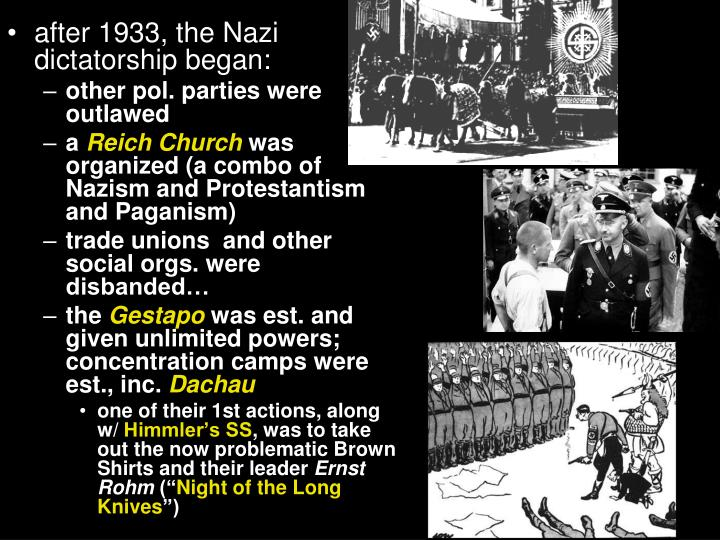 after 1933, the Nazi dictatorship began: