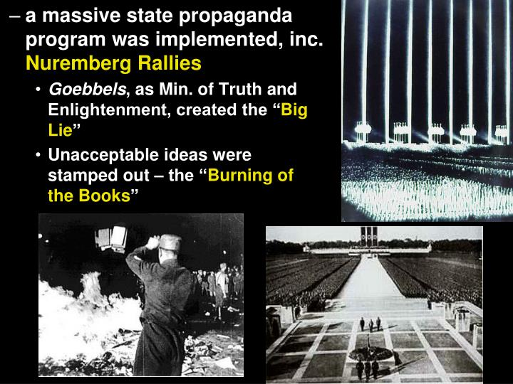 a massive state propaganda program was implemented, inc.