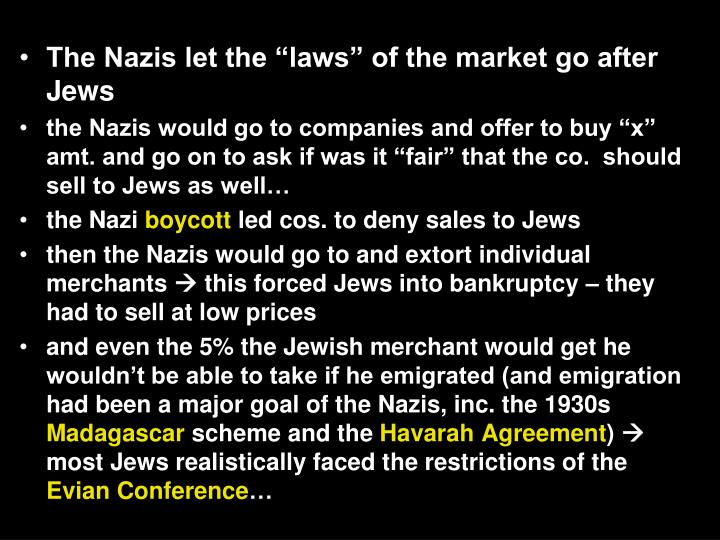 "The Nazis let the ""laws"" of the market go after Jews"