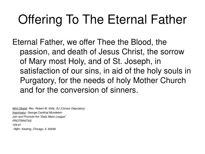 Offering To The Eternal Father