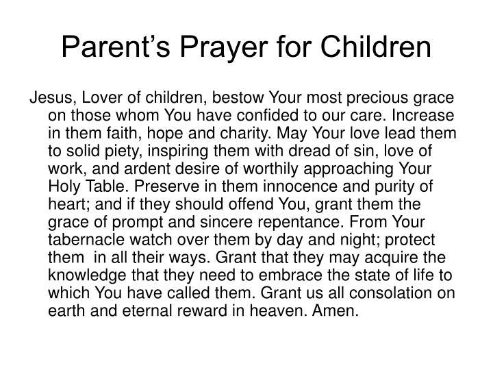 Parent's Prayer for Children