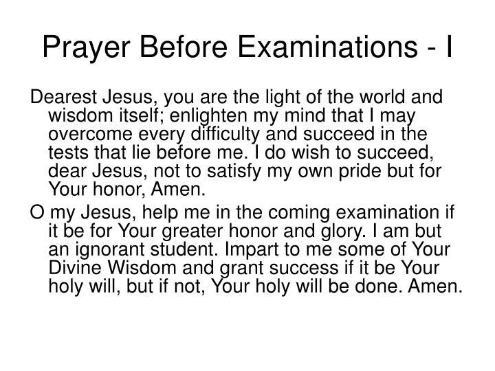 Prayer Before Examinations - I