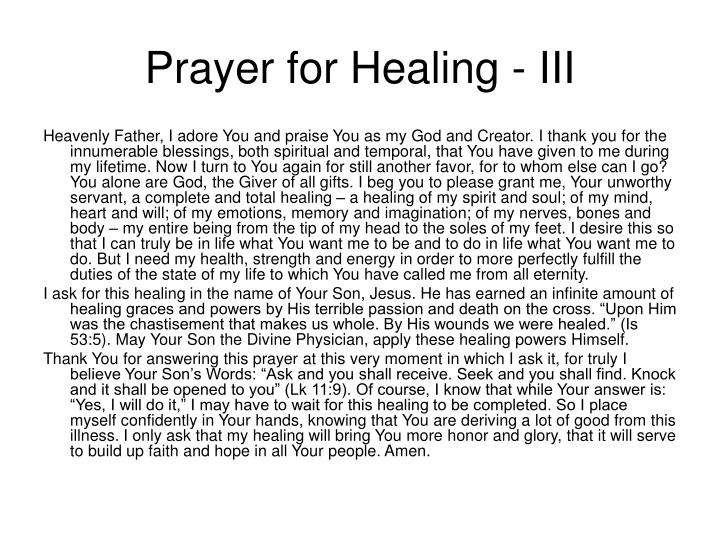 Prayer for Healing - III