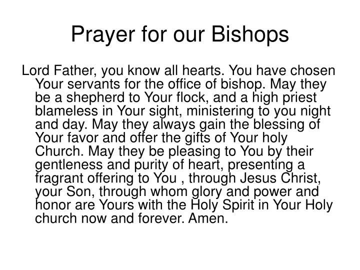 Prayer for our Bishops