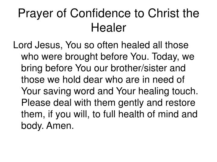Prayer of Confidence to Christ the Healer