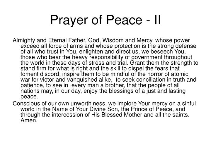 Prayer of Peace - II