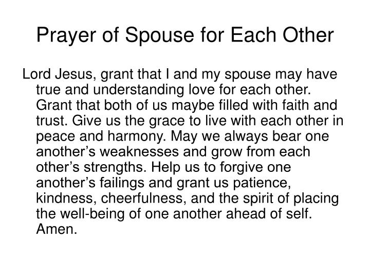 Prayer of Spouse for Each Other
