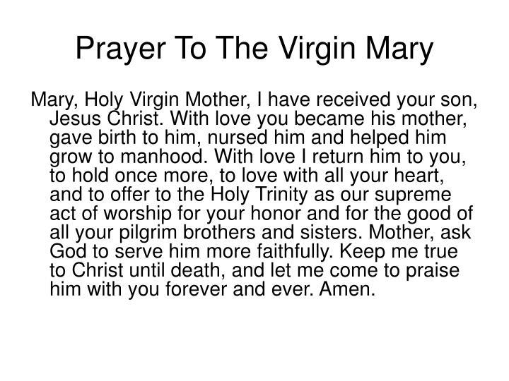 Prayer To The Virgin Mary