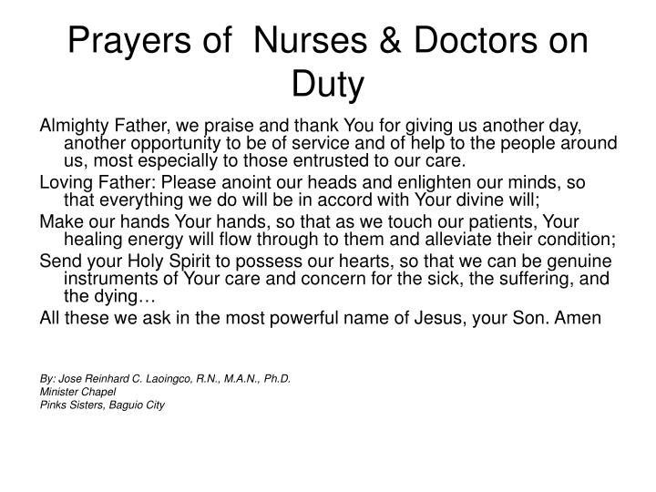 Prayers of  Nurses & Doctors on Duty