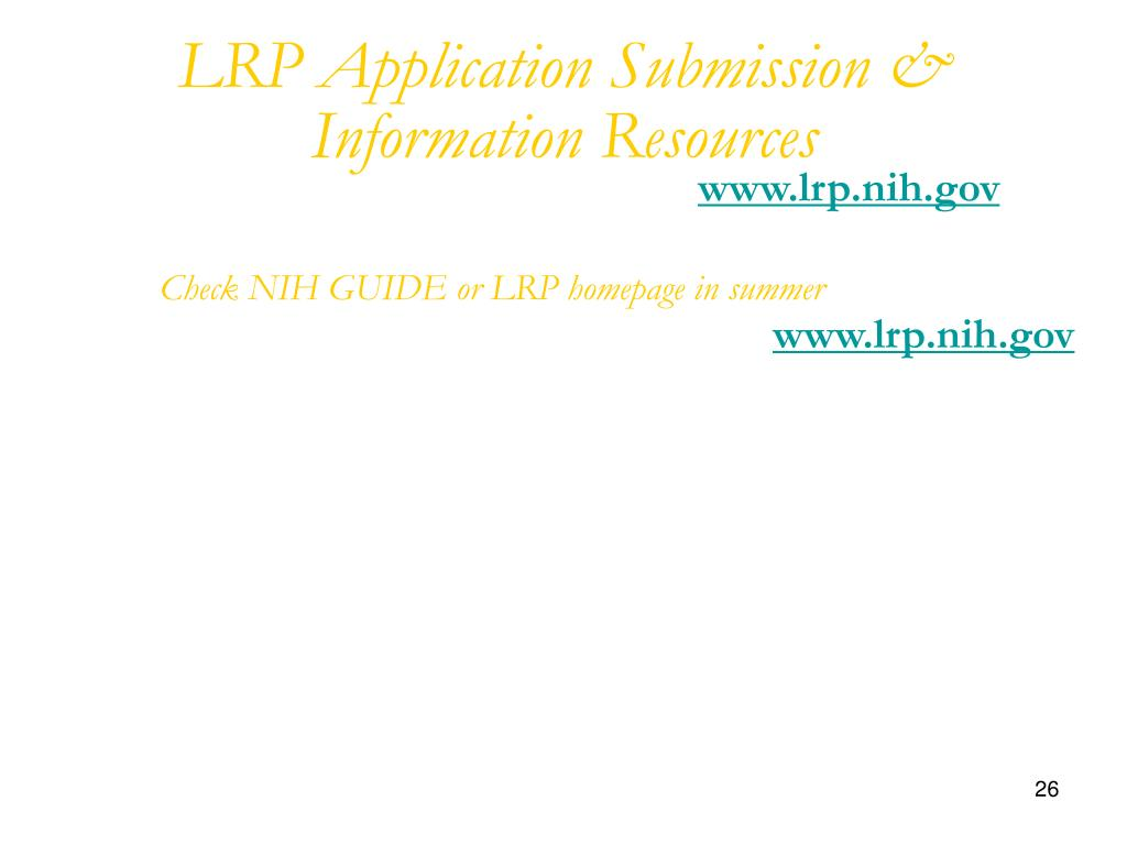 LRP Application Submission & Information Resources