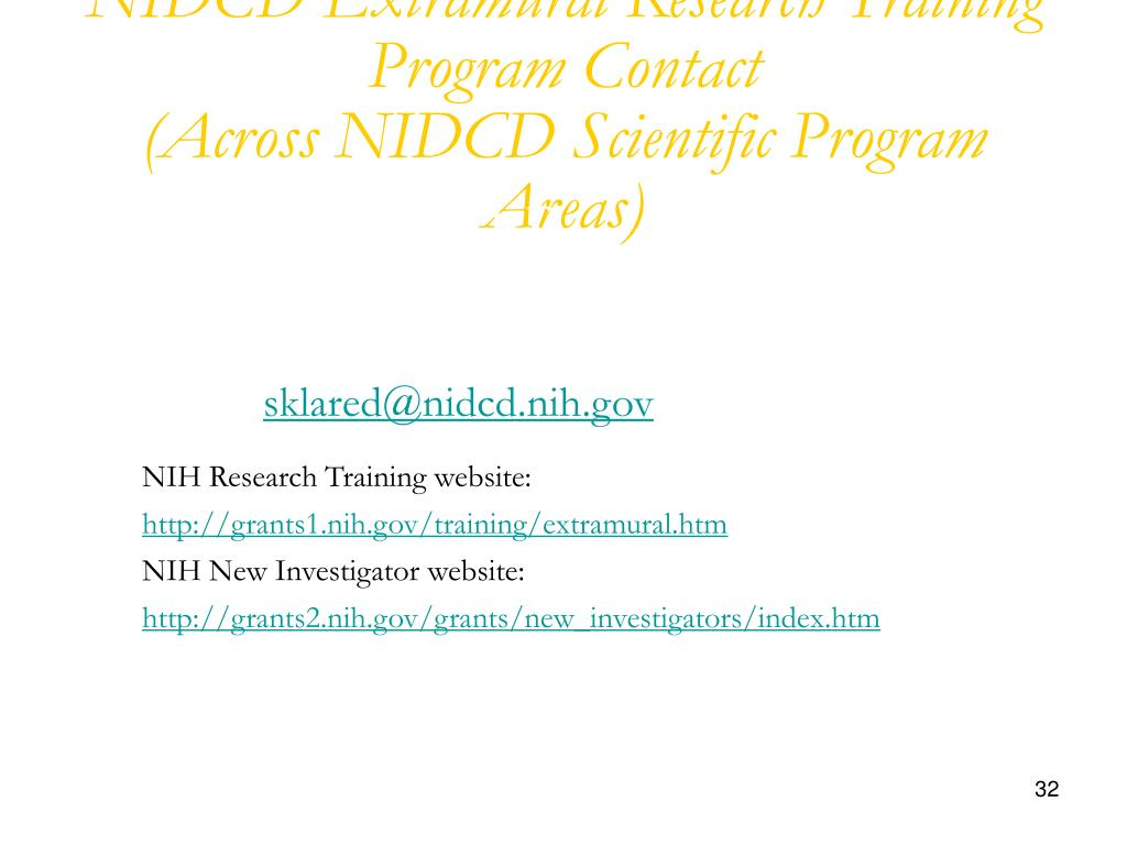 NIDCD Extramural Research Training Program Contact