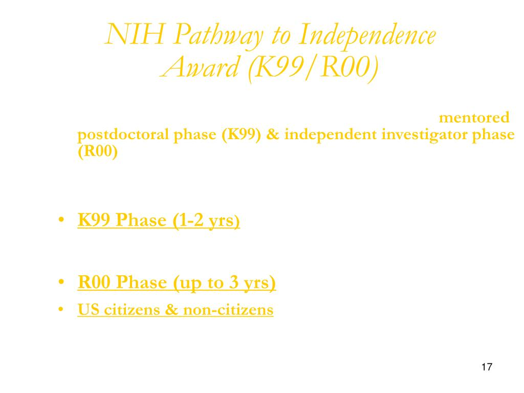 NIH Pathway to Independence Award (K99/R00)