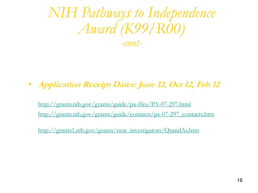 NIH Pathways to Independence Award (K99/R00)