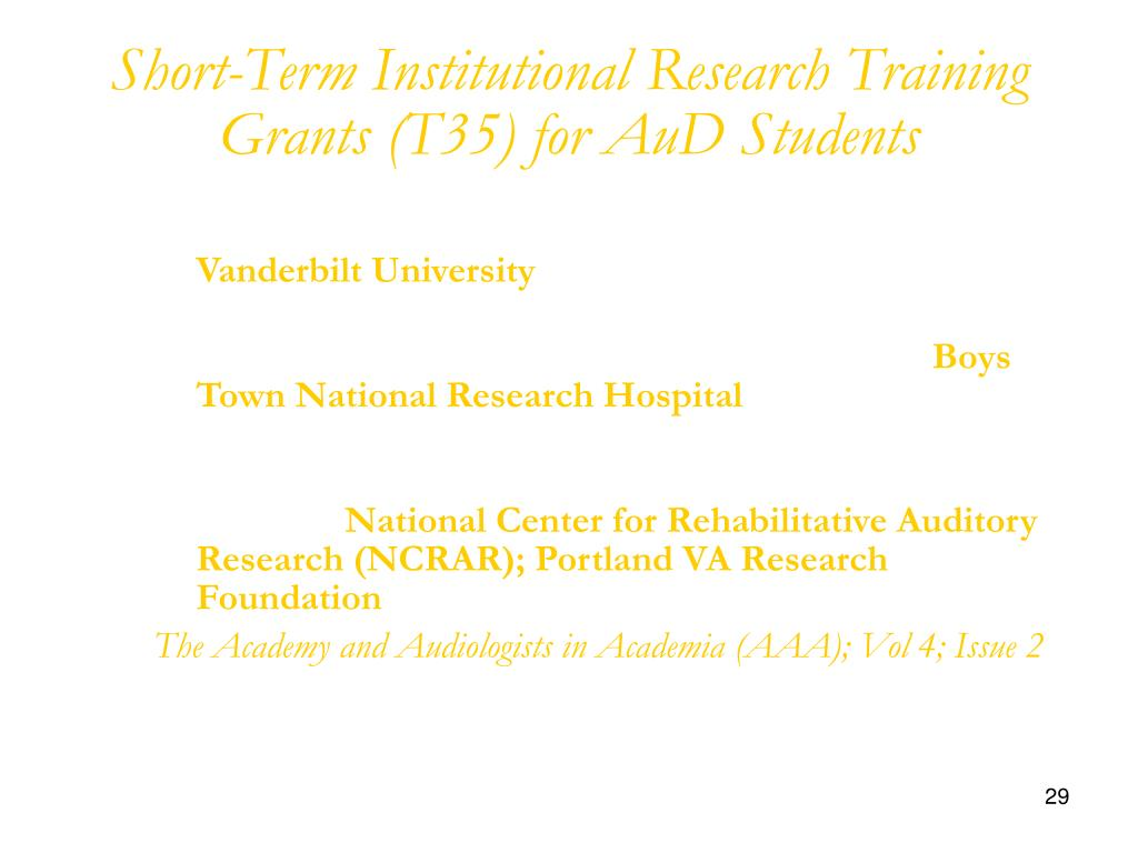 Short-Term Institutional Research Training Grants (T35) for AuD Students