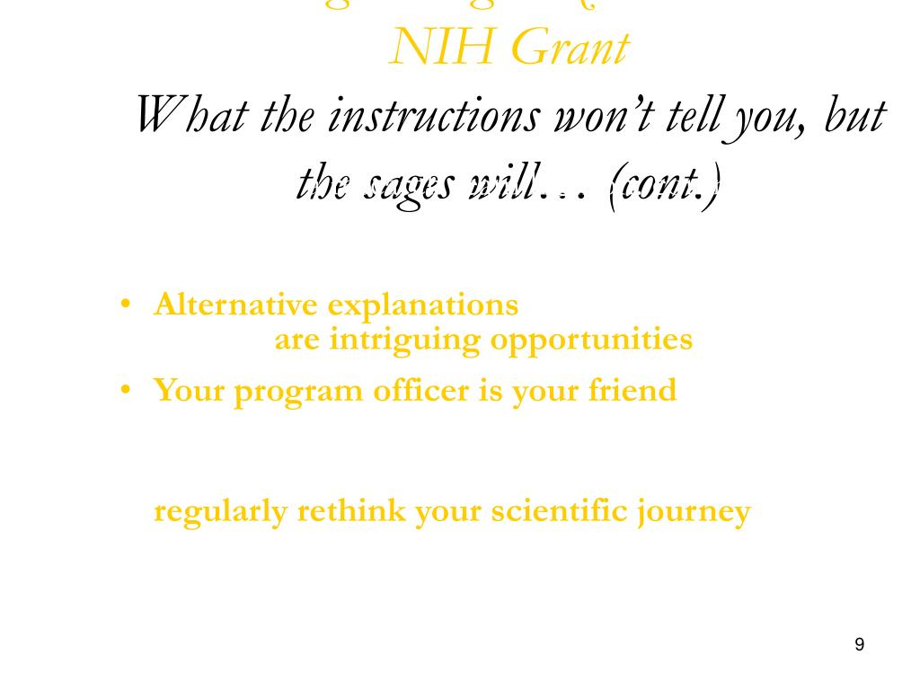 Winning the Big Prize- Your First NIH Grant