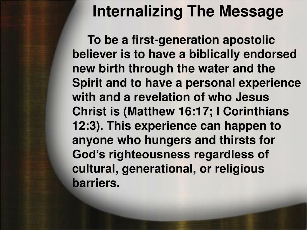 Internalizing The Message