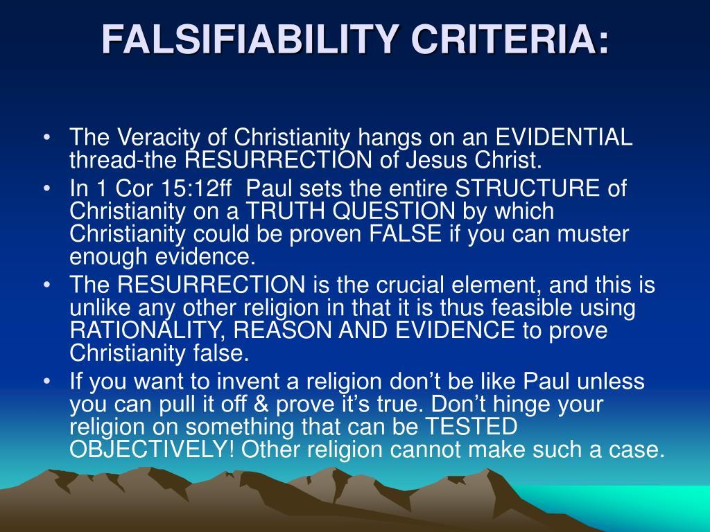 FALSIFIABILITY CRITERIA:
