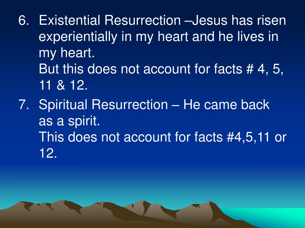 Existential Resurrection –Jesus has risen experientially in my heart and he lives in my heart.