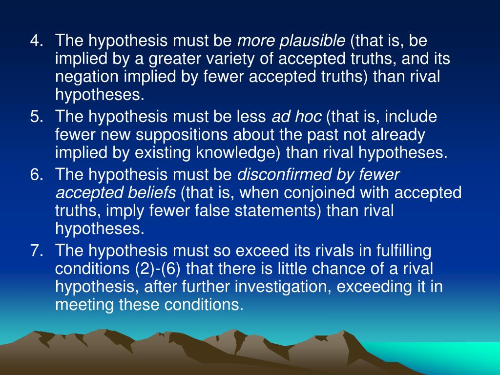 The hypothesis must be