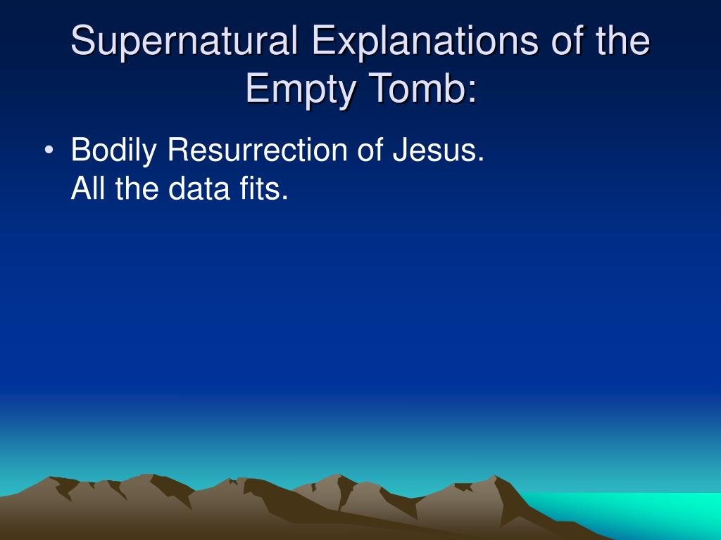 Supernatural Explanations of the Empty Tomb: