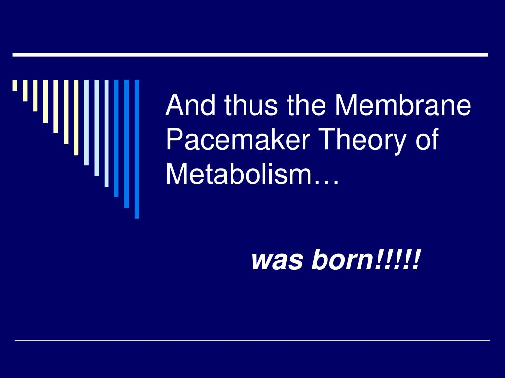 And thus the Membrane Pacemaker Theory of Metabolism…