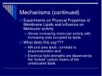 mechanisms continued
