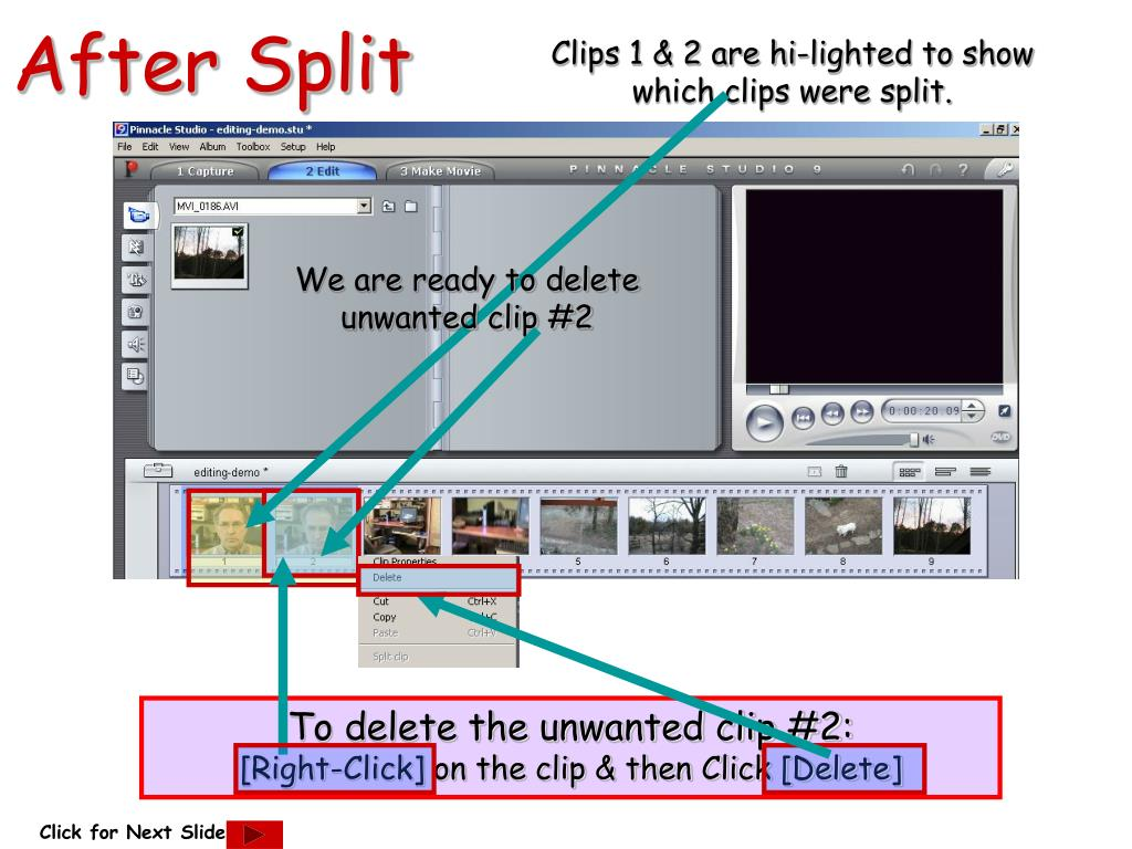 Clips 1 & 2 are hi-lighted to show