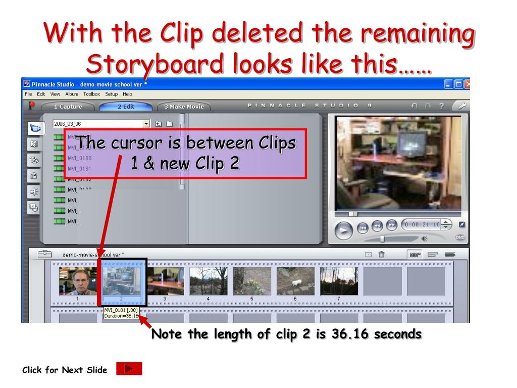 With the Clip deleted the remaining Storyboard looks like this……
