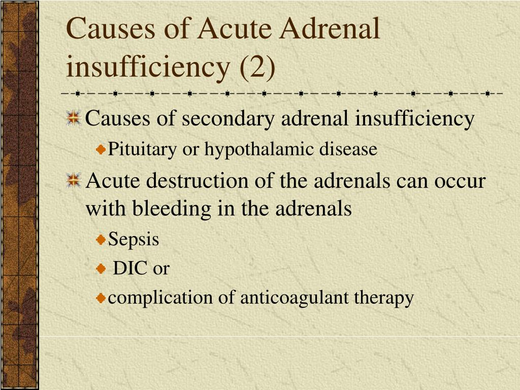 Causes of Acute Adrenal insufficiency (2)