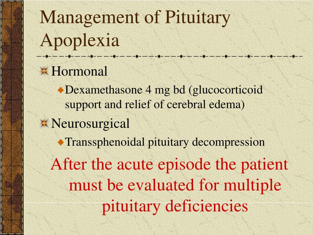 Management of Pituitary Apoplexia