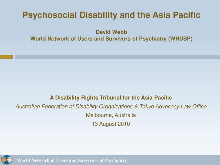A Disability Rights Tribunal for the Asia Pacific