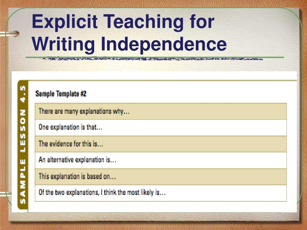Explicit Teaching for Writing Independence