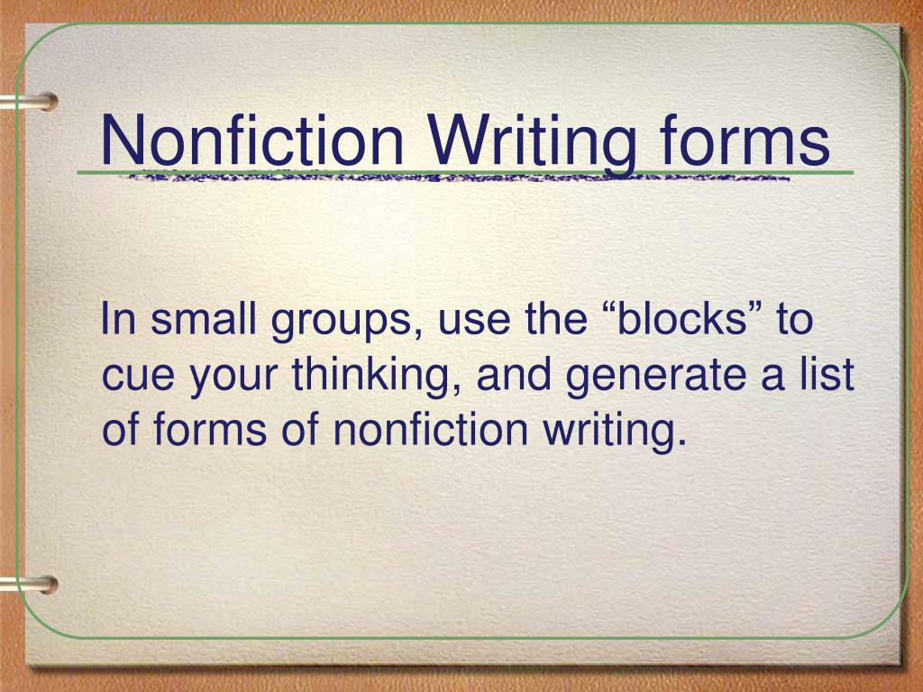 Nonfiction Writing forms