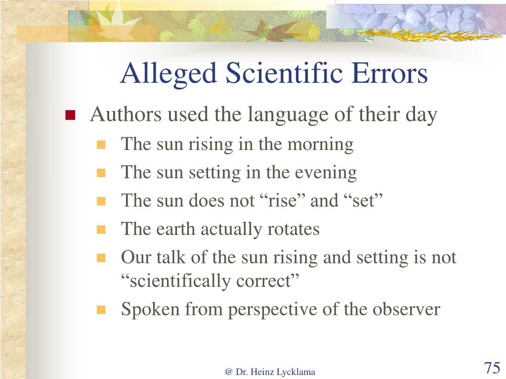 Alleged Scientific Errors