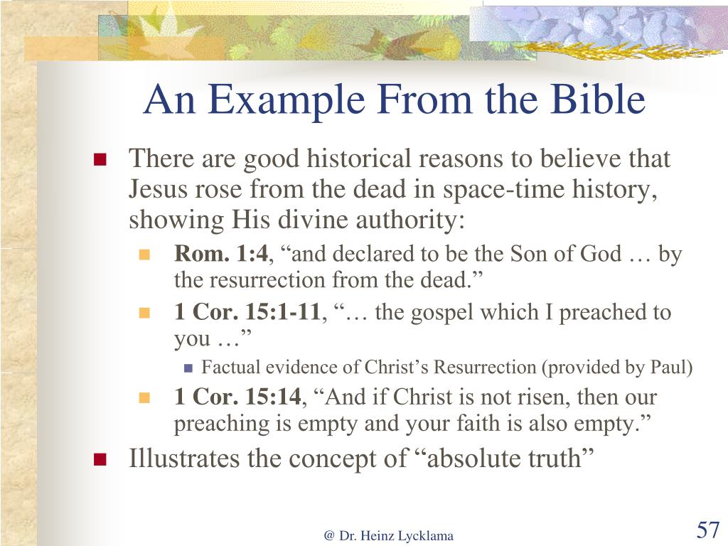 An Example From the Bible