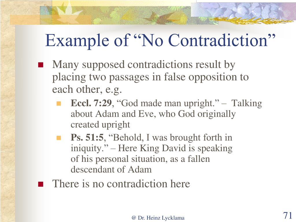 "Example of ""No Contradiction"""